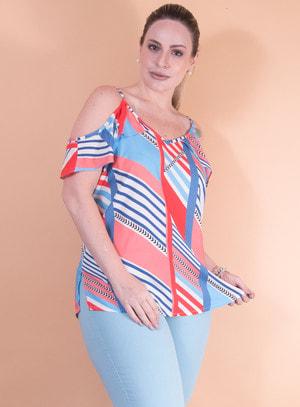Blusa Ciganinha em Viscose com Babados na Região do Busto Estampa Geométrica