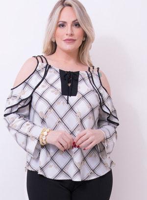 Blusa Ciganinha em Viscose com Amarração no Decote Xadrez