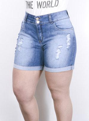 Short em Jeans Destroyed com Botão de Strass