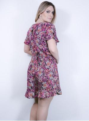 Macaquinho Short Saia em Viscose com Trançado e Estampa Floral Rosa e Preta
