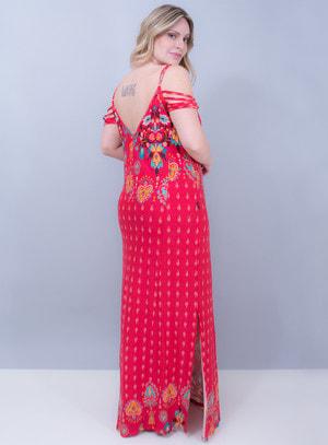 Vestido Longo em Viscolycra Fendas e Tiras Vermelho