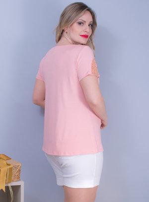 Blusa em Malha com Decote Canoa e Bordado de Pedraria Rosa