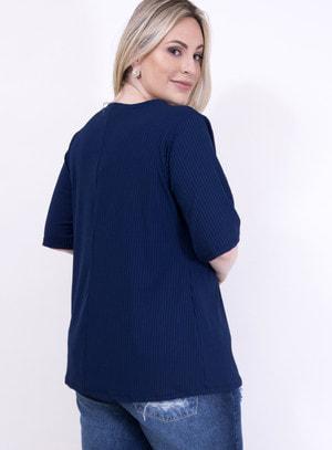 Blusa em Malha Canelada com Choker e Amarração no Decote Azul