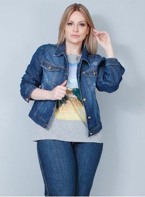 Jaqueta em Jeans Stone Wash Destroyed