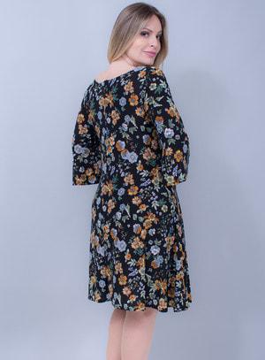 Vestido em Liganete Estampa Floral e Manga Sino Preto