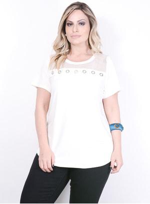 T-Shirt em Malha com Tela e Ilhóses Off-white