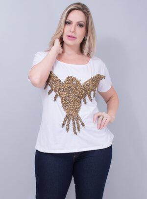 T-shirt em Malha Águia Bordada Decote Canoa