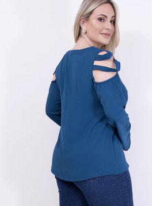 Blusa em Crepe com Choker e Recorte nos Ombros Azul Petróleo