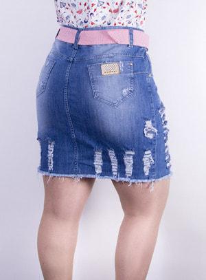 Saia em Jeans Destroyed com Cinto Listrado