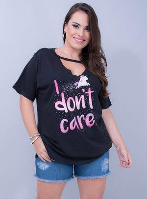 T-shirt em Algodão Unicórnio I Don't Care Chocker Preta