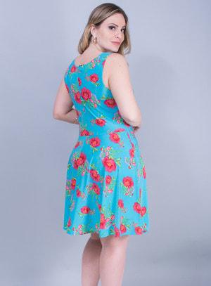 Vestido em Liganete Estampa Floral Azul