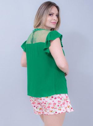 Blusa em Crepe Aplicação de Guipir com Bordado e Tela Verde