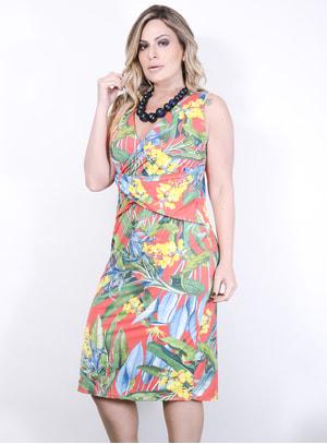 Vestido em Malha Fria com Estampa Floral e Decote Transpassado