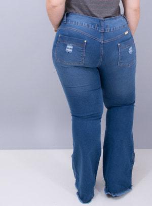 Calça em Jeans com Elastano Flare Destroyed