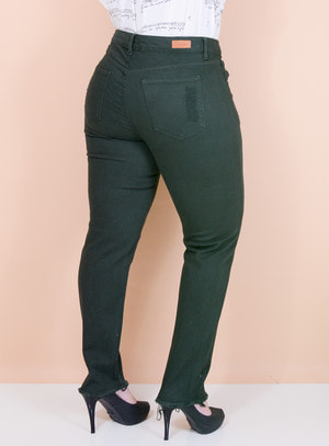 Calça Jeans Slim Destroyed Verde