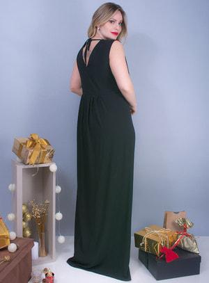 Vestido Longo em Crepe com Pregas Forrado Preto