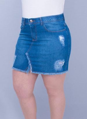 Saia Jeans Stone Wash Destroyed com Elastano e Elástico no Cós