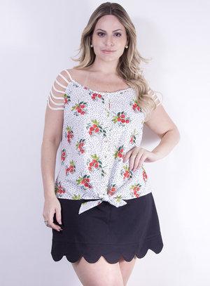 Blusa em Tricoline com Detalhes nas Mangas e Estampa de Poá e Flores Branco