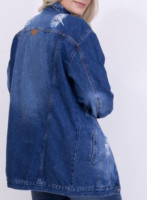 Jaqueta em Jeans Oversized Destroyed com Bolsos Azul