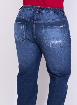Calça em Jeans Destroyed Boyfriend com Elástico no Cós