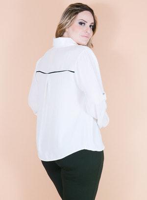 Camisa em Crepe Manga Longa com Recortes Off white