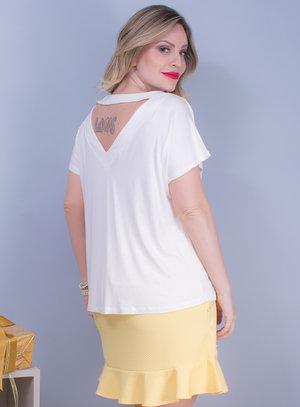 Blusa em Malha com Decote com Bordado de Pedraria Off White