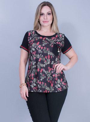 T-shirt em Malha com Estampa Floral e Bolso com Pingente