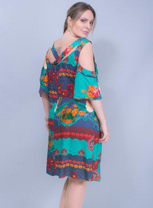 Vestido em Viscose Detalhe Transpassado nas Costas