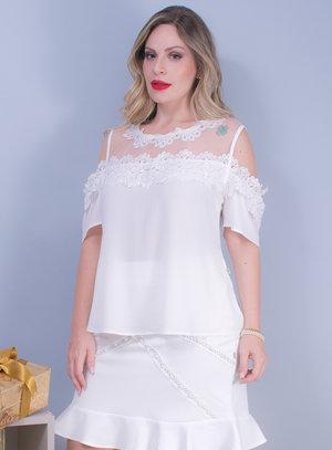 Blusa Ciganinha em Crepe com Tule e Guipir Branca