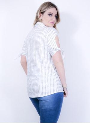 Camisa em Tricoline com Estampa de Estrelas com Babados no Busto Branca