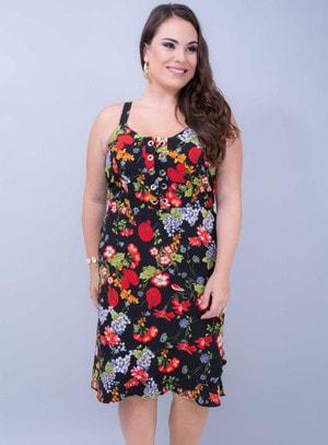 Vestido em Neoprene com Decote Trançado Florido Preto