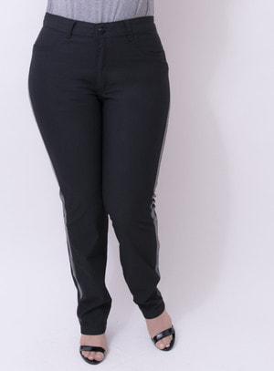 Calça em Jeans com Elastano com Faixa Lateral em PU