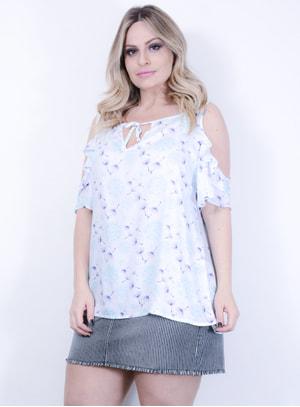 Blusa em Viscose com Estampa Floral e Recorte no Ombro