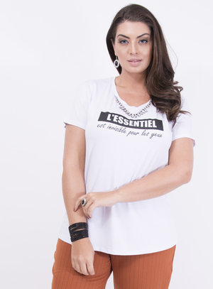 T-shirt em Malha com Colar Removível e Frase: