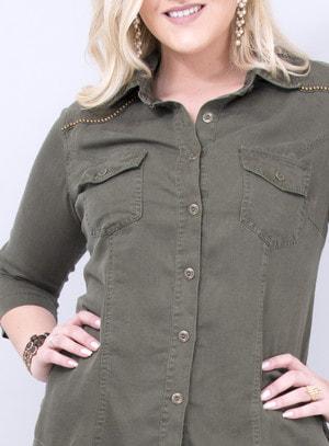 Camisa em Liocel com Manga 3/4 Verde Militar