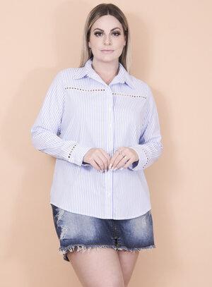 Camisa em Algodão com Elastano Listrada Azul