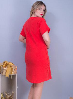 Vestido em Moletinho com Manga Curta e Decote em V com Aplicação de Ilhós Vermelho