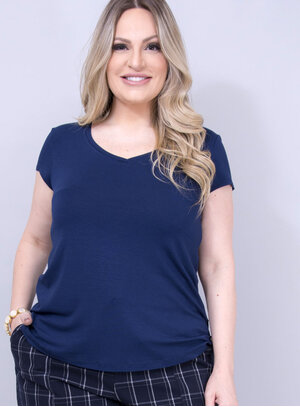 T-shirt em Malha com Gola V Azul