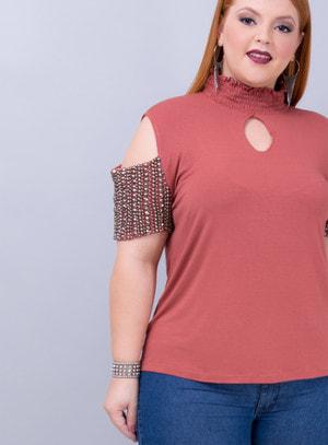 Blusa em Viscose com Gola Lastex e Aplicação de Pedrarias na Manga Rosa Queimado