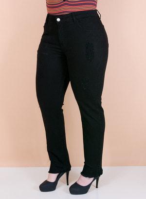 Calça Jeans Slim Destroyed Preta