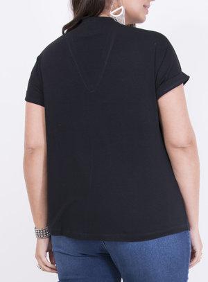 T-shirt com Gola V e Manga com Barra Italiana