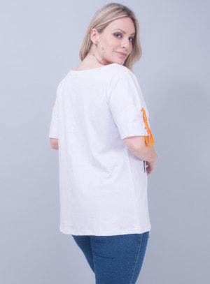 T-Shirt em Algodão Abacaxi de Paetê Aloha Branca