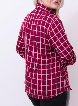 Camisa em Viscose Xadrez com Bordado Marsala
