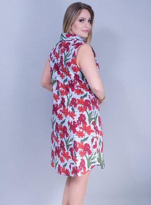 Vestido em Malha Acinturado Mix de Estampas Vichy e Floral