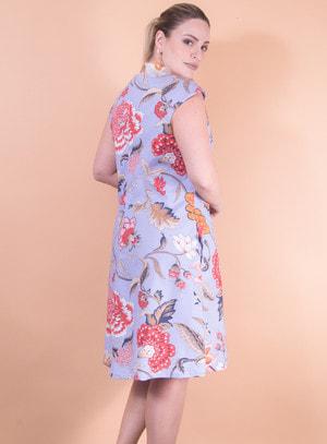 Vestido em Tricoline com Bolsos e com Estampa Floral