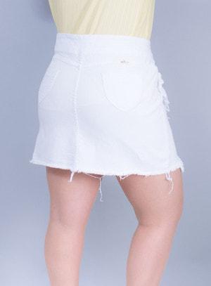 Saia em Jeans com Ponta e Babados Branca