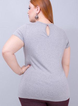T-shirt em Malha Choker Estrela com Estampa em Veludo de Coração
