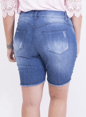 Bermuda em Jeans com Elastano com Detalhes em Destroyed