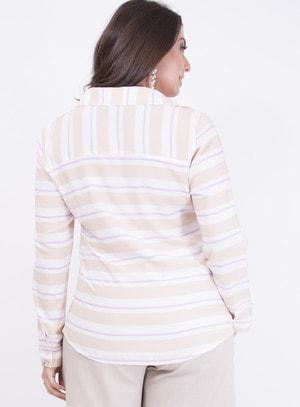 Camisa em Viscose com Botões Listrada