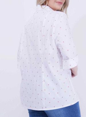 Camisa em Algodão com Manga 3/4 e Bolsos no Busto Branco